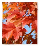 Fall Tree Leaves Art Prints Blue Sky Autumn Baslee Troutman Fleece Blanket