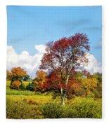 Fall Trees In Country Field Fleece Blanket