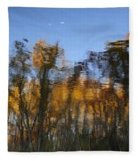 Fall Trees Reflected Fleece Blanket