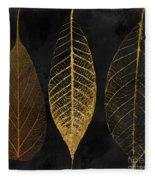 Fallen Gold II Autumn Leaves Fleece Blanket