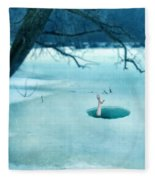 Fallen Through The Ice Fleece Blanket