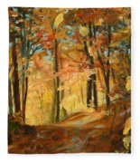 Fall's Radiance In Quebec Fleece Blanket