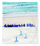 Family Day At Beach Fleece Blanket