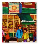 Family  Fun At St. Viateur Bagel Fleece Blanket