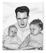 Family In Pointillism Fleece Blanket
