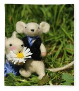 Family Mouse On The Spring Meadow .1. Fleece Blanket