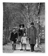 Family Out Walking On A Wintry Day Fleece Blanket