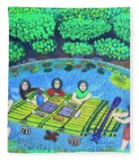 Family Picnic In Palau Fleece Blanket
