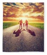 Family Walk On Long Straight Road Towards Sunset Sun Fleece Blanket