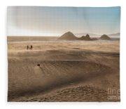 Family Walking On Sand Towards Ocean Fleece Blanket