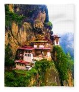 Famous Tigers Nest Monastery Of Bhutan 11 Fleece Blanket