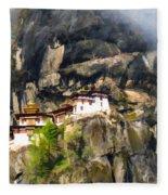 Famous Tigers Nest Monastery Of Bhutan 3 Fleece Blanket