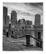 Fan Pier Boston Harbor Bw Fleece Blanket