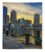 Fan Pier Boston Harbor Fleece Blanket