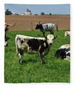 Fantastic Farm On A Spring Day With Cows Fleece Blanket