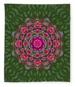 Fantasy Floral Wreath In The Green Summer  Leaves Fleece Blanket