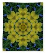 Fantasy Plumeria Decorative Real And Mandala Fleece Blanket