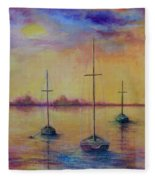 Fantasy Sailboats  Fleece Blanket