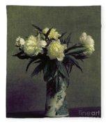 Fantin-latour: Peonies, 1872 Fleece Blanket