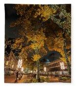 Fanueil Hall Boston Ma Autumn Foliage Fleece Blanket