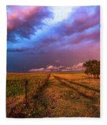 Far And Away - Open Prairie Under Colorful Sky In Oklahoma Panhandle Fleece Blanket