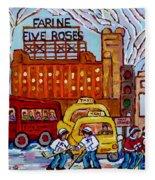 Farine Five Roses Montreal 375 Hometown Hockey Hotel Bonaventure Tour Bus Canadian Art C Spandau Art Fleece Blanket