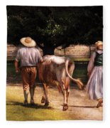 Farm - Cow - Time For Milking  Fleece Blanket