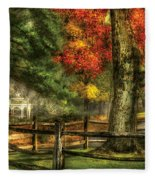 Farm - Fence - On A Country Road Fleece Blanket