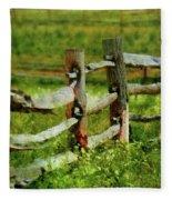 Farm - Fence - The Old Fence Post  Fleece Blanket