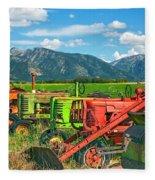 Farm  Art Tractors Fleece Blanket