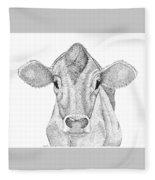 Farm Cow In Pointillism Fleece Blanket