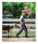 Farm - Cow -the Farmer And The Dell  Fleece Blanket