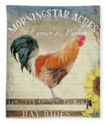 Farm Fresh Barnyard Rooster Morning Sunflower Rustic Fleece Blanket