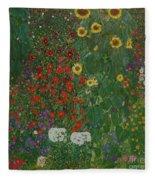 Farm Garden With Flowers Fleece Blanket