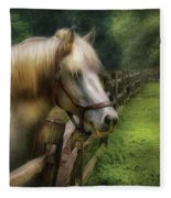 Farm - Horse - White Stallion Fleece Blanket