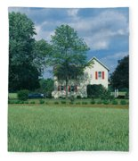 Farm House And Spring Field, Maryland Fleece Blanket