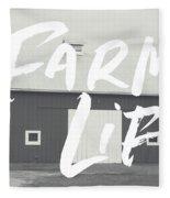 Farm Life Barn- Art By Linda Woods Fleece Blanket by Linda Woods