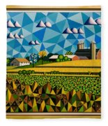 Farm On Hwy 28 Framed  Fleece Blanket