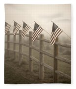 Farm With Fence And American Flags Fleece Blanket