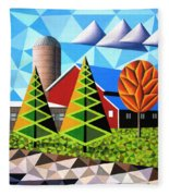 Farm With Three Pines And Cow Fleece Blanket
