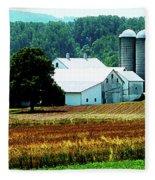 Farm With White Silos Fleece Blanket