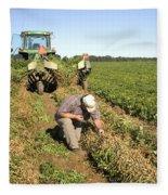 Farmer Inspects Peanut Field Fleece Blanket