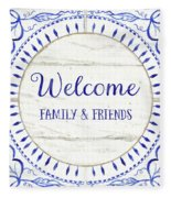Farmhouse Blue And White Tile 6 - Welcome Family And Friends Fleece Blanket