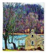 Farmhouse By The Lake Fleece Blanket
