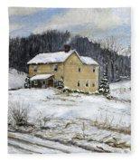 Farmhouse Snowman Fleece Blanket