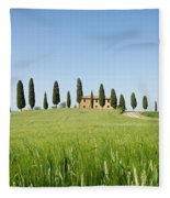 Farmhouse With Cypress Trees And Crops In Tuscany Fleece Blanket