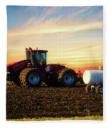 Farming April In The Field On The Case 500 Fleece Blanket