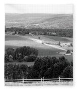 Farming Panorama Finger Lakes New York Bw Fleece Blanket