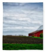 Farming Red Barn On A Quite Spring Day Fleece Blanket
