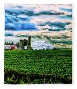 Farmland In  Hdr Fleece Blanket